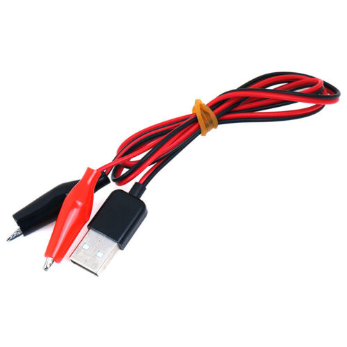 1Pc Alligator Test Clips Clamp to USB Male Connector Power Supply Adapter Ca SM!