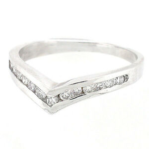 14k V Shaped Diamond Anniversary Wedding RingCurved Wedding Band