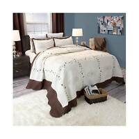 Athena Embroidered Quilt Set (king) Brown 3pc - Yorkshire Home&174; on Sale