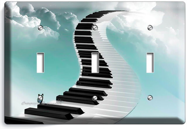 Piano Keys Stairs Sky Clouds 3 Gang Light Switch Plates Music Studio Room Decor Ebay