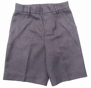 Boys-School-Shorts-Gris-Ages-4-To-14-ans-slim-Jambe-Reglable-a-la-taille
