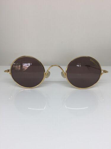 Nouveau vintage lunettes rondes métal 5566 Lunettes De Soleil Verres Lentilles or 41-26 mm