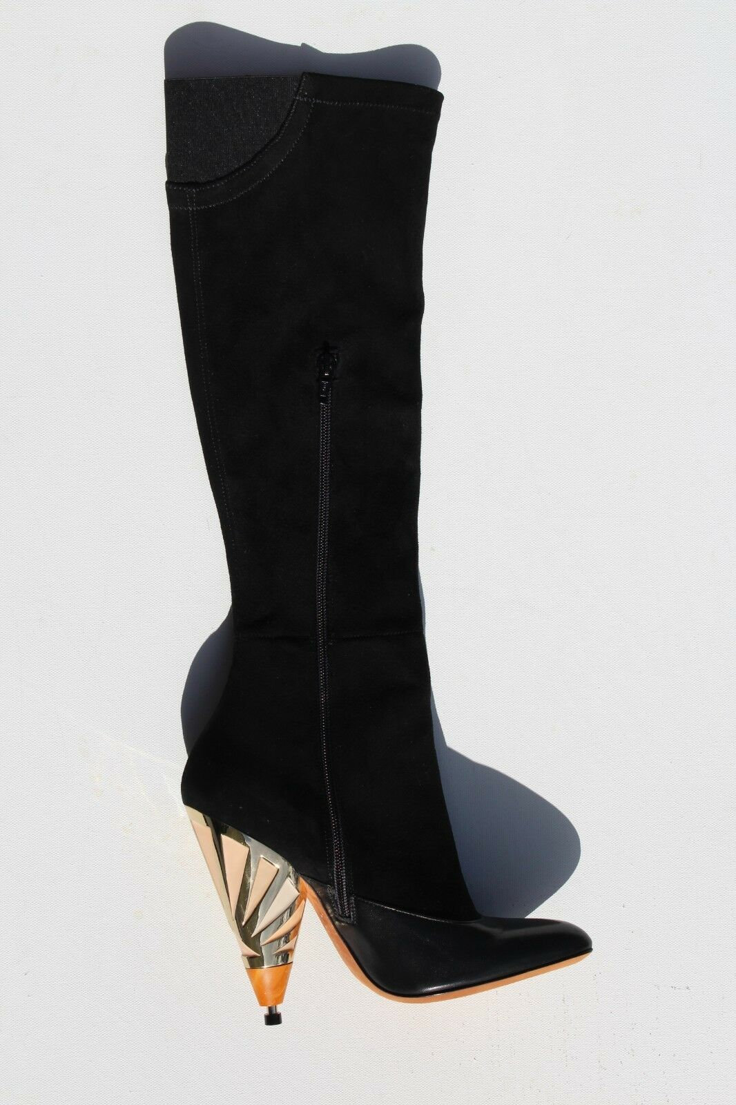 NEW AUTHENTIC GIVENCHY WOMENS HEELS LEATHER SUEDE BLACK BOOTS SIZE 37