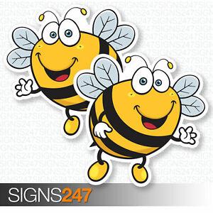2-x-BEE-STICKERS-Happy-Bumble-Bee-Vinyl-Decal-Window-Bumper-Fun-Sticker