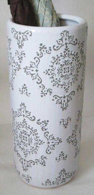 Umbrella Stand Ceramic White And Grey