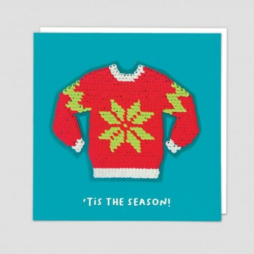 """Details about  /Redback Shine Reversible Sequin Christmas Card Ugly Christmas Jumper /""""Tis The..."""