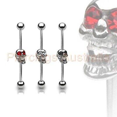 Arrow Skull Ear Industrial Barbell Body Jewelry 14G 38mm