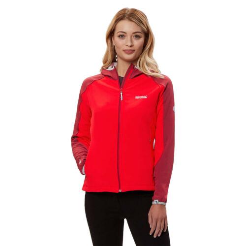 Regatta Femme arec II Softshell Veste Haut Sport Rouge à L/'extérieur à Capuche Coupe-vent