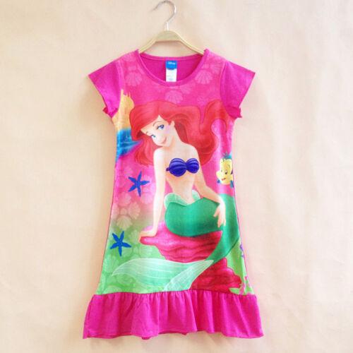 Kids Girls Cartoon Princess Tunic Shift Dress Summer Casual Sundress Nightdress