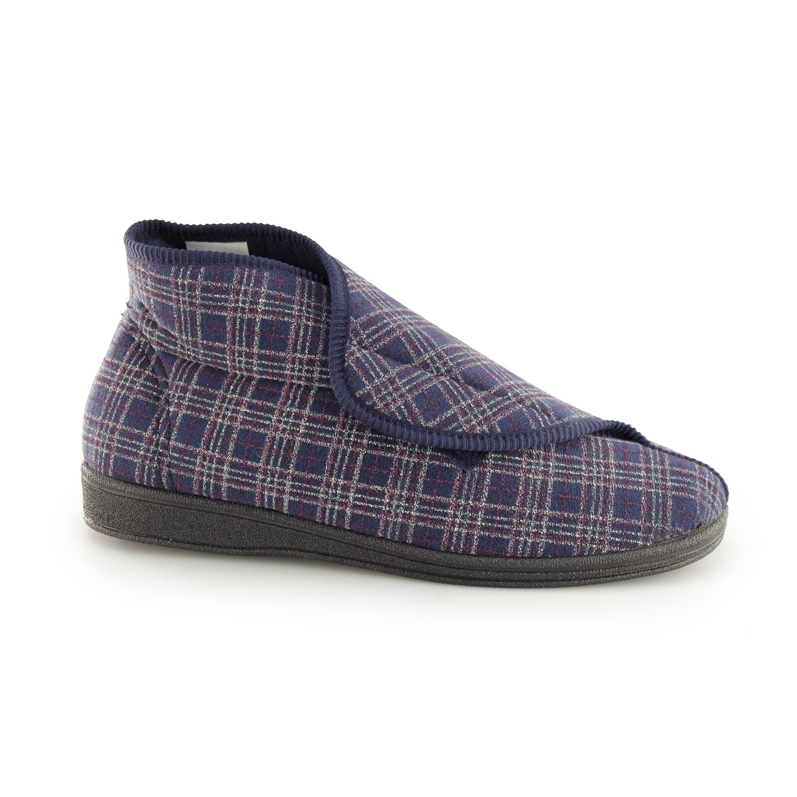 Sleepers BRETT II Mens Textile Touch Fasten Extra Wide Comfy Boot Slippers Navy