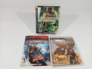 Uncharted 1 2 3 Sony PlayStation 3 PS3 Video Games Complete Lot Bundle