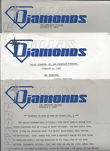 1980-81-Dallas-Diamonds-Womens-Basketball-Press-Releases-amp-Game-Notes-WNBA-FWIL