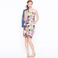 J. Crew Strapless Silk Ella Dress Garden Floral Print size 2