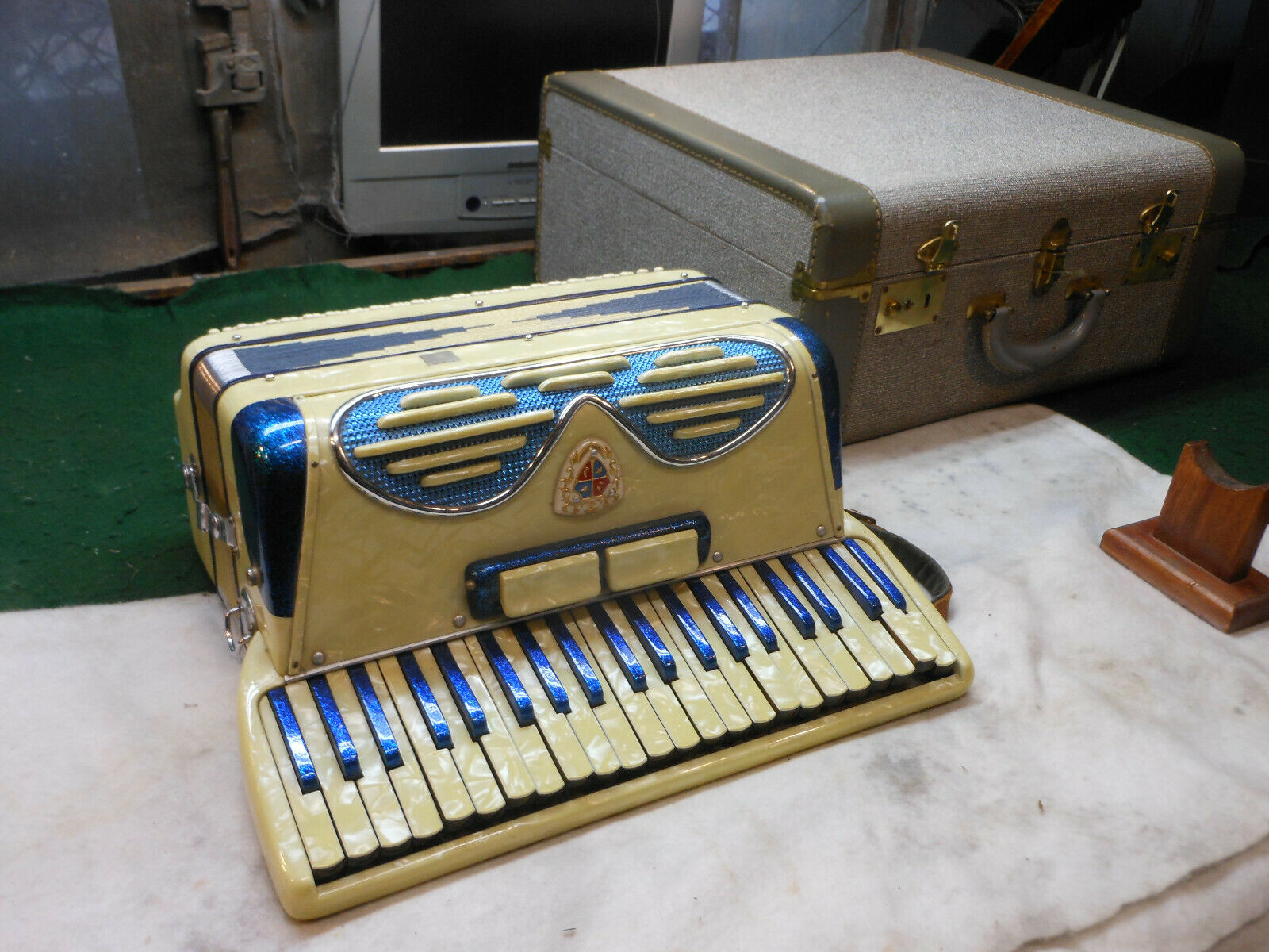 Vintage Noble Accordian pearl inlay with case made in  Needs Repair