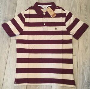 0bb968143 Mens Penuguin Heritage Slim Fit Polo Shirt Striped Wine Mauve Size ...