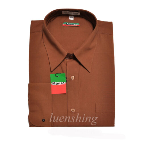 New men/'s french cuff shirts dress formal party wedding prom long sleeve Brown