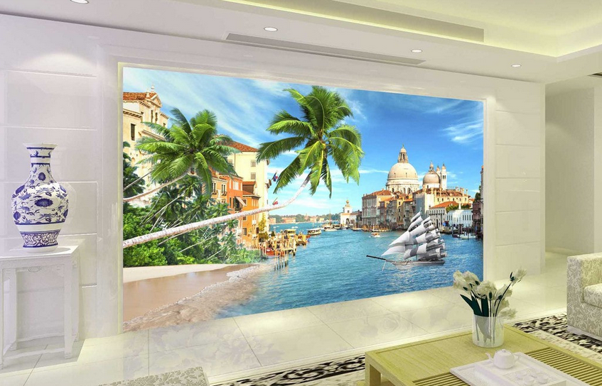 3D Water Castle 49 Wallpaper Murals Wall Print Wallpaper Mural AJ WALL AU Lemon