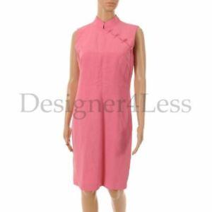 JOSEPH-Dress-Pink-Silk-amp-Linen-Sleeveless-with-Chinese-Collar-Size-4-JS-59