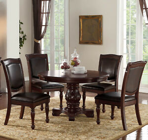Details About New 5pc Formal Carved Cherry Finish Wood Round Dining Table Set Leather Chairs
