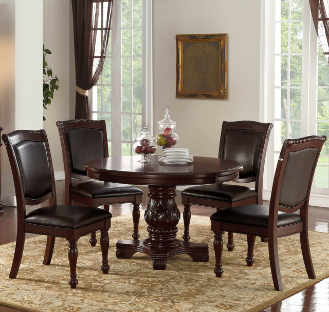 Deville 5pc Brown Cherry Finish Wood Round Counter Pedestal Dining Table Set For Sale Online Ebay