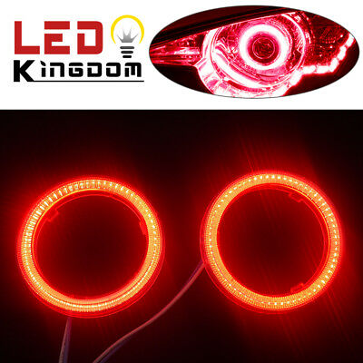 2x 12V-24V 70mm Red COB LEDs Angel Eyes Halo Ring Headlight/&Fog DRL Lamps US