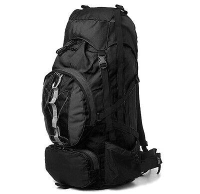 New 60+10L Internal Frame Camping Hiking Backpack Black