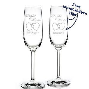 Details zu 2 Set Sektgläser mit Hochzeit Gravur Personalisiert Geschenk  Sektglas Montana