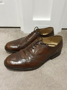 Clarkes-Brogues-Batcomb-Wing-Brown-Dark-Tan-Leather-Size-8-5