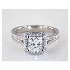 1.60 Cts VS2 H Split Shank Halo Princess Cut Solitaire Diamond Engagement Ring