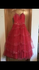 Gorgeous red sequin quinceanera, sweet 16, prom, wedding dress worn once