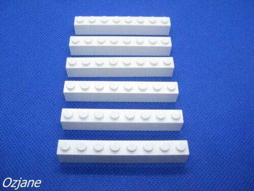 LEGO PART 3008 WHITE BRICK 1 X 8 FOR 6 PIECES