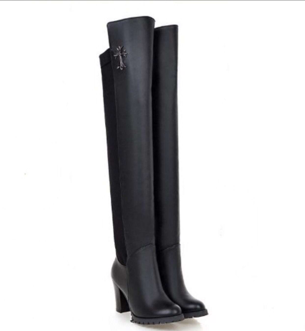 d3a081e0fb3 botas altas invierno cómodo mujer talón plataforma 8 cm negro como piel 8934