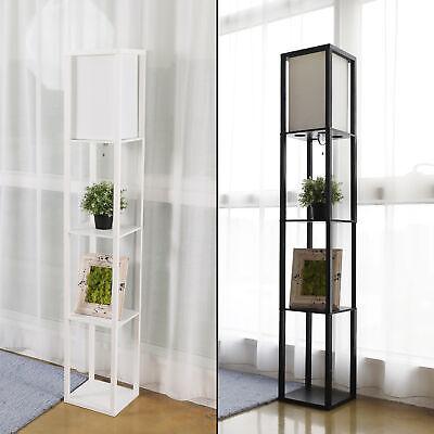 1 2 Set Modern Wood Shelf Floor Light Linen Shade Lamp Storage Home Living Room Ebay