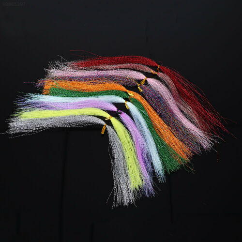 FE60 100pcs Crystal Fly Fishing Line Tying Material 30cm Lure Bait Lines Color R
