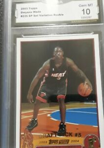 2003-Topps-Collection-Dwyane-Wade-ROOKIE-RC-225-Gold-Foil-Rare-GMA-10-GEM-MINT