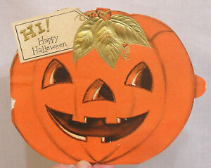 Vintage-HALLOWEEN-Greeting-Card-JOL-Flocked-Black-Cat-Diecut-Hung-on-Door-Shelf