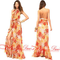Maxi Dress Full Halter High-thigh Cut Backless Floral Sexy Beach XS/S/M/L/XL/2XL