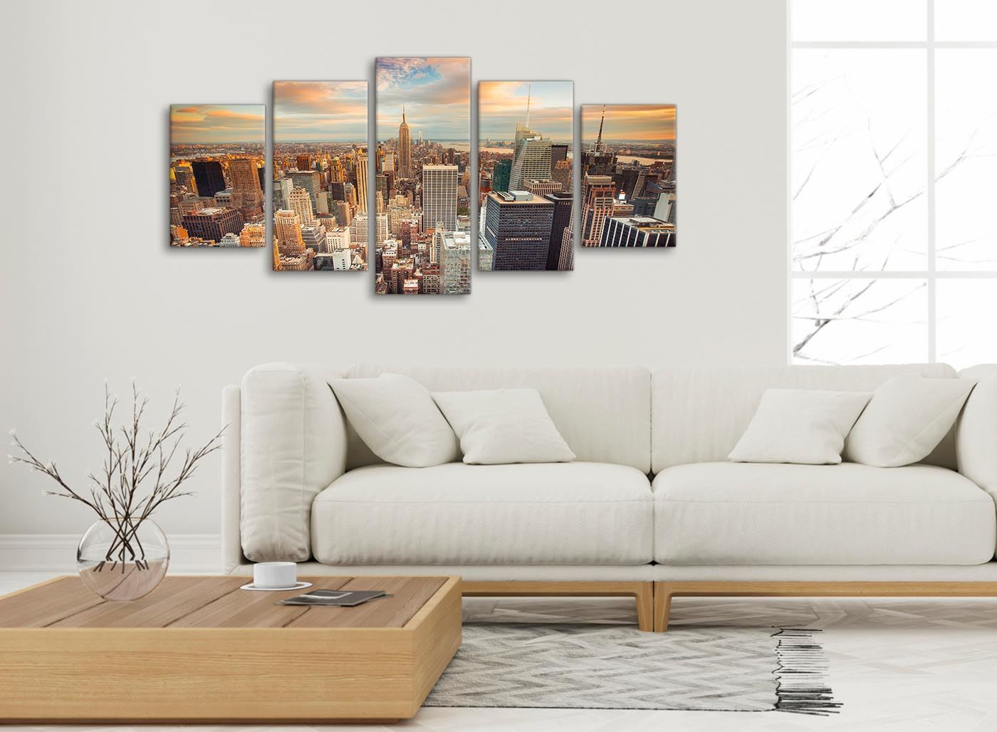 New york skyline sunset manhattan cityscape set set canvas