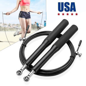 Speed-Jump-Rope-Crossfit-Boxing-Weighted-Ball-Bearing-Beaded-Fitness-Gym-10FT-US