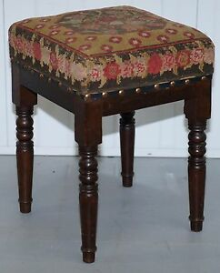 VICTORIAN-STAINED-PINE-STOOL-WITH-CIRCA-1920-NEEDLEPOINT-KILIM-UPHOLSTERY-RARE