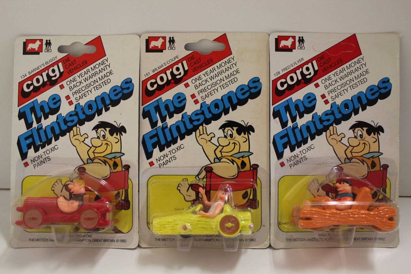 produttori fornitura diretta CORGI Junior NO    128, 151 + 134  FLINSTONE modellololi Set di 3  (non aperto 1982)  design semplice e generoso