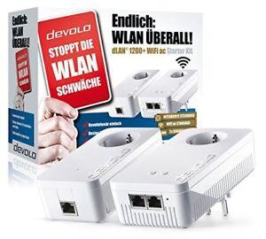 Devolo dLAN 1200+ WiFi AC, Powerlan Starter Kit, 1200 Mbit/s, Gigabit LAN, WLAN