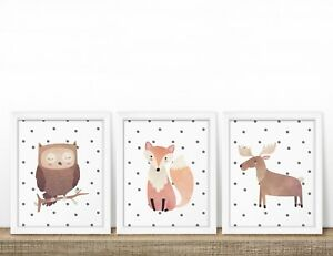 Dotty-Woodland-animal-lot-de-3-Nursery-Prints-Chambre-de-Bebe-Mur-Art-Kids