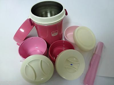JBC-800 PINK THERMOS heat preservation  Bento lunch box with bag (japan import)