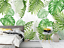 3D Tropical Leaves Green Wallpaper Wall Mural Removable Self-adhesive Sticker 56