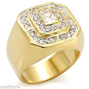 Square Champions Cz Stones Tutone 18kt Gold Ep Mens Ring