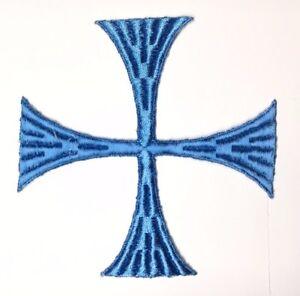 Vintage-Cuadrado-Cruz-6-034-Bordado-para-Coser-Azul-B-Maltes-Emblema-Parche-2PC