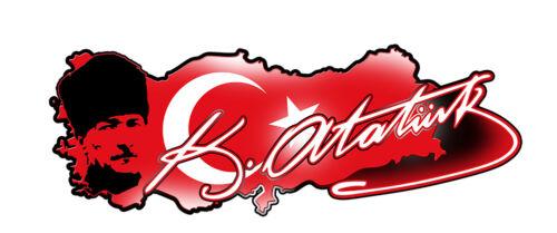 ATATURK SIGNATURE TURKYE MAP DECAL 650MM BY 236MM GLOSS LAMINATED