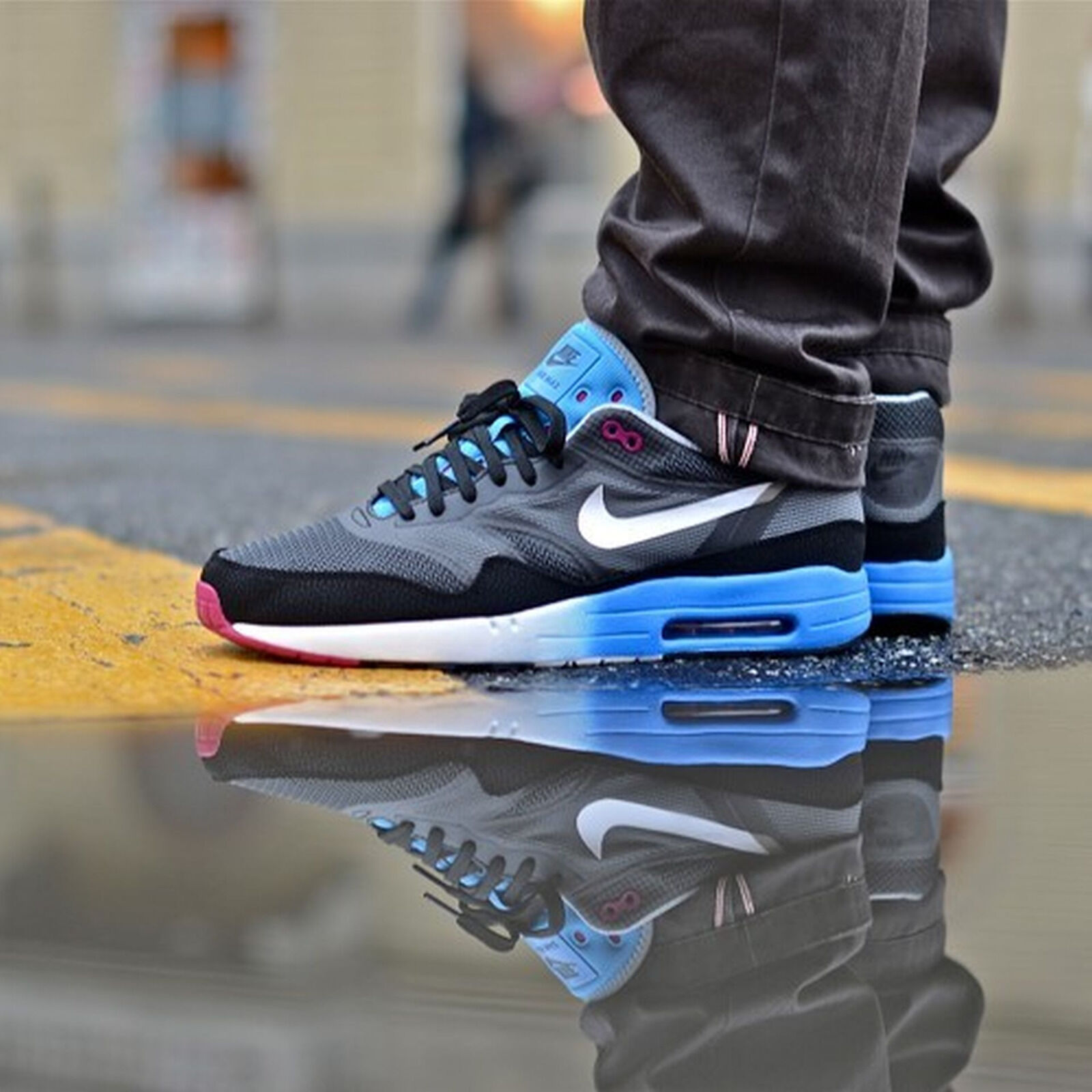 Nike Air Max 1 C2.0 Running Shoe size 11.5 631738-001 Mens Black White Dark Grey