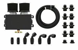 Alloy-1-2L-Dual-Baffled-Engine-Oil-Breather-Tank-4x-AN10-with-3M-Hose-Kit-Black